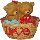 Trendy Couple Teddy with Twin Hearts in a Love Basket to Yamunanagar
