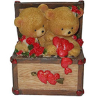 Witty Twin Teddy with Hearts and Roses in a Box to Bangalore