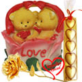 Good Looking Twin Teddy with Roses in a Love Baske... to Sirsi