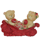 Cuddly Couple Teddy With Two Hearts and Roses in a Boat to Aruppukottai