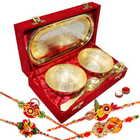 Classic Tray. Bowl  N  Spoon Set in Gold-Silver Finish with 4 Designer Rakhi and Roli Tilak Chawal to Guwahati