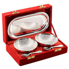 Designer Silver Tray Plated Set of 5 pcs to Bihar
