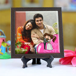 Captivating Personalized Photo Square Tile to Alwar