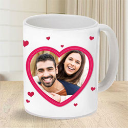 Lovely Personalized Heart Shape Photo Coffee Mug to Adipur