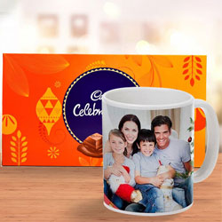 Stylish Personalized Coffee Mug with Cadbury Celebration Chocolate to Arisipalayam
