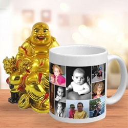 Elegant Personalized Coffee Mug with a Laughing Buddha to Amreli