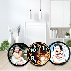 Subtle Personalized Table Clock with Twin Photo to Adra