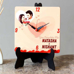 Elegant Personalized Photo Square Table Clock to Alwar