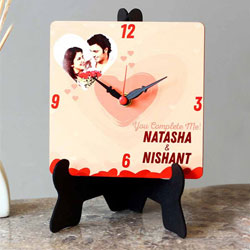 Lovely Personalized Photo Square Table Clock to Bellary