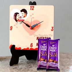 Wonderful Personalized Photo Clock with Cadbury Dairy Milk Silk to Bareilly