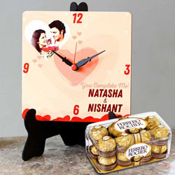 Graceful Personalized Photo Table Clock with Ferrero Rocher Chocolates to Arisipalayam