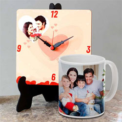 Eye Catching Personalized Photo Table Clock with a Personalized Coffee Mug to Achalpur