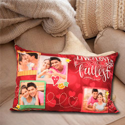 Amazing Rectangular Personalized Photo Cushion to Ambalamugal