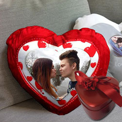 Exclusive Heart Shaped Cushion with Tin Box to Bardez