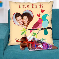 Amazing Personalized Cushion with a Cone of Handmade Chocolates to Alapuzha