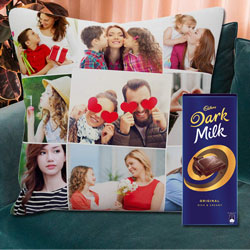 Smarty Personalized Cushion with a Cadbury Dark Milk Chocolate Bar to Amargol