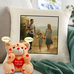 Exclusive Personalized Cushion with an I Love You Singing Teddy to Achalpur