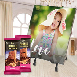 Astonishing Personalized Photo Tile with ITC Fabelle Twin Chocolates to Agroli
