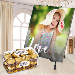 Beautiful Personalized Photo Tile with Ferrero Rocher Chocolate to Adugodi