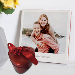 Amazing Personalized Photo Tile with Heart Shape Hand Made Chocolates to Adipur