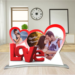 Graceful Twin Heart Shape Personalized Photo Frame with Love Message to Annur