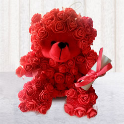 Smart Rose Teddy with Personalized Message to Addanki