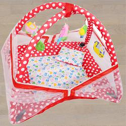 Fancy Mosquito Net with Kick and Play Gym N Bedding Set to Aalangulam