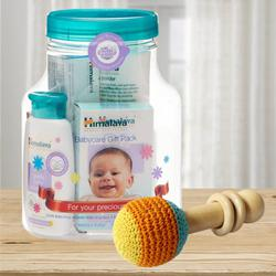 Marvelous Wooden Rattle Toy with Himalaya Herbals Babycare Gift Jar<br> to Ahmadnagar