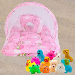 Marvelous Mattress with Mosquito Net N Animal Water Toys<br><br> to Ahmadnagar