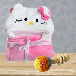 Marvelous Wrapper Baby Bath Towel with Rattle Toy<br> to Ahmadnagar