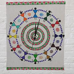 Beautiful Warli Art Wall Clock (Handmade) to Adipur