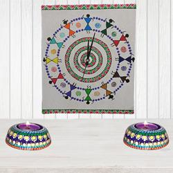 Impressive Handmade Warli Art Wall Clock with Twin Dot Mandala Art Diya to Alapuzha