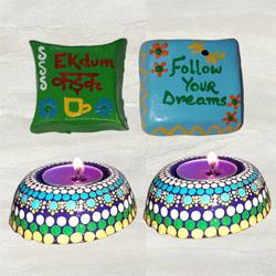 Magnificent Dot Mandala Art Diya with Handmade Fridge Magnet Set to Adilabad