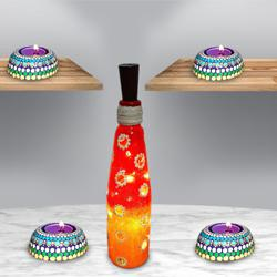 Stunning Dot Mandala Art Diya with Bottle Art Lighting Lamp to Aizwal