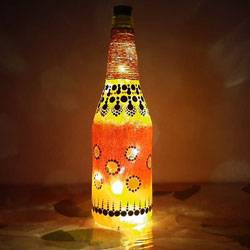 Attractive Dot Mandala Art Bottle Lamp to Alapuzha