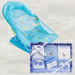 Marvelous Baby Bather N Cotton Clothes Gift Set to Akurdi