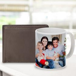 Magnificent Personalized Photo Coffee Mug with Rich Borns Brown Leather Wallet for Men to Alapuzha
