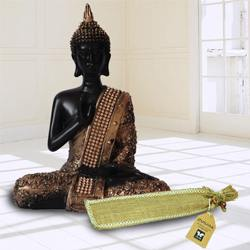 Divine Meditating Lord Buddha Idol N Incense Stick in Ash Catcher to Alagappapuram