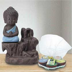 Pious Meditating Monk Buddha N Incense Holder with Iris Aroma Candles to Akola