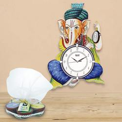 Marvelous Ganesha Wooden Wall Clock N Iris Aroma Candle to Abohar