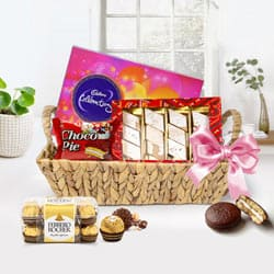 Delicious Gift of Chocolates Loaded in Basket Hamper to Gurgaon