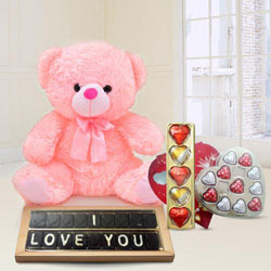 Tasty Basket of I Love You Chocolates Gift Hamper for a Romantic Moment to India