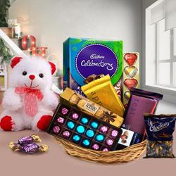 Gift Hamper of Chocolates and Teddy with Bliss to Behrampur