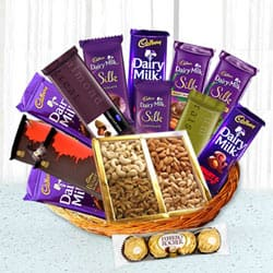 Lovable Chocolate Family Hamper Basket to Allahabad