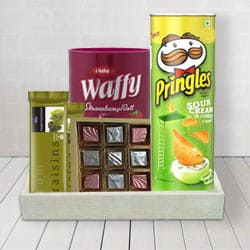 Chocolaty Delights with Pringle Chips for him to Bhadrawati