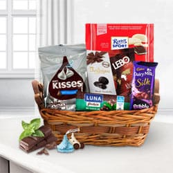 Pleasurable Gift Basket of Chocolate Assortments <br> to Bahana