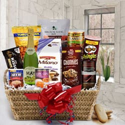 Exquisite Gourmet Gift Basket with Sparkling Fruit Juice to Anjar