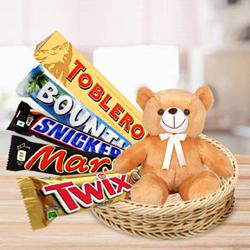 Marvelous Basket of Chocolates with Teddy to Annur