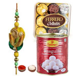 Beauteous Rakhi With Ferrero Rocher And Rasgulla to Rakhi_to_newzealand.asp
