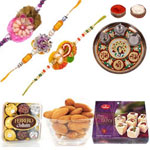 Attractive Rakhi With Desingner Thali , Soan Papdi , Ferrero Rocher And Almonds to Rakhi_to_newzealand.asp